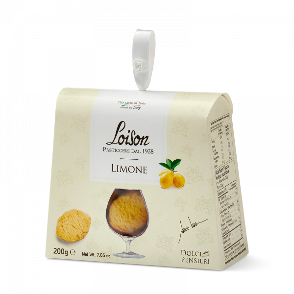 Lemon biscuits - fine butter cookies in a gift box Loison