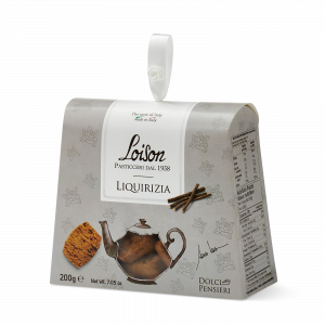 Liquorice biscuits - fine butter cookies in a gift box Loison