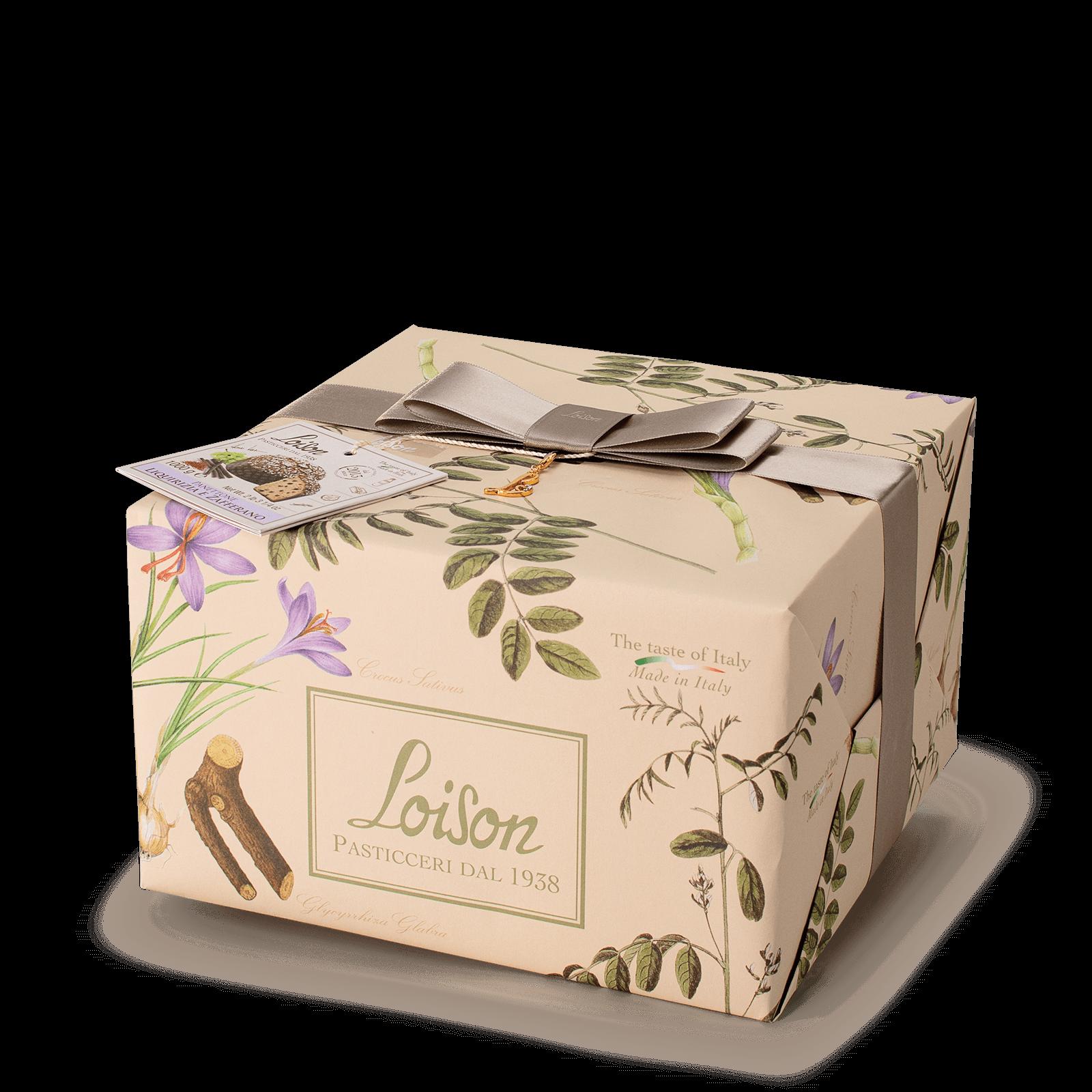 Liquorice and saffron Panettone - Fruit and Flowers Loison