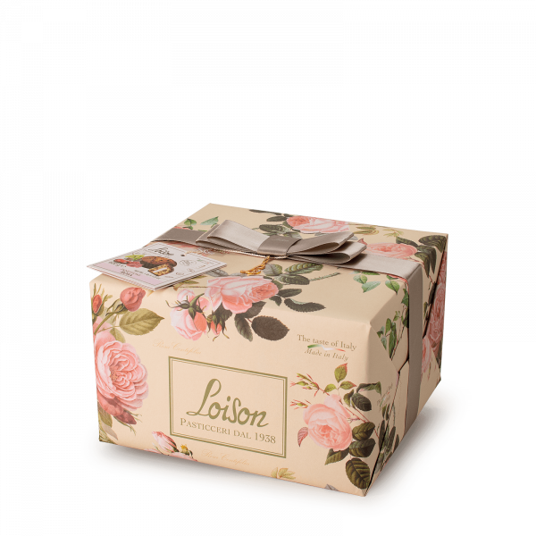 Panettone with rose syrup and cream- Fruit and Flowers Loison
