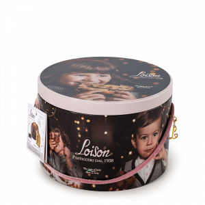 Panettone in a tin with chocolate filling and chips Loison