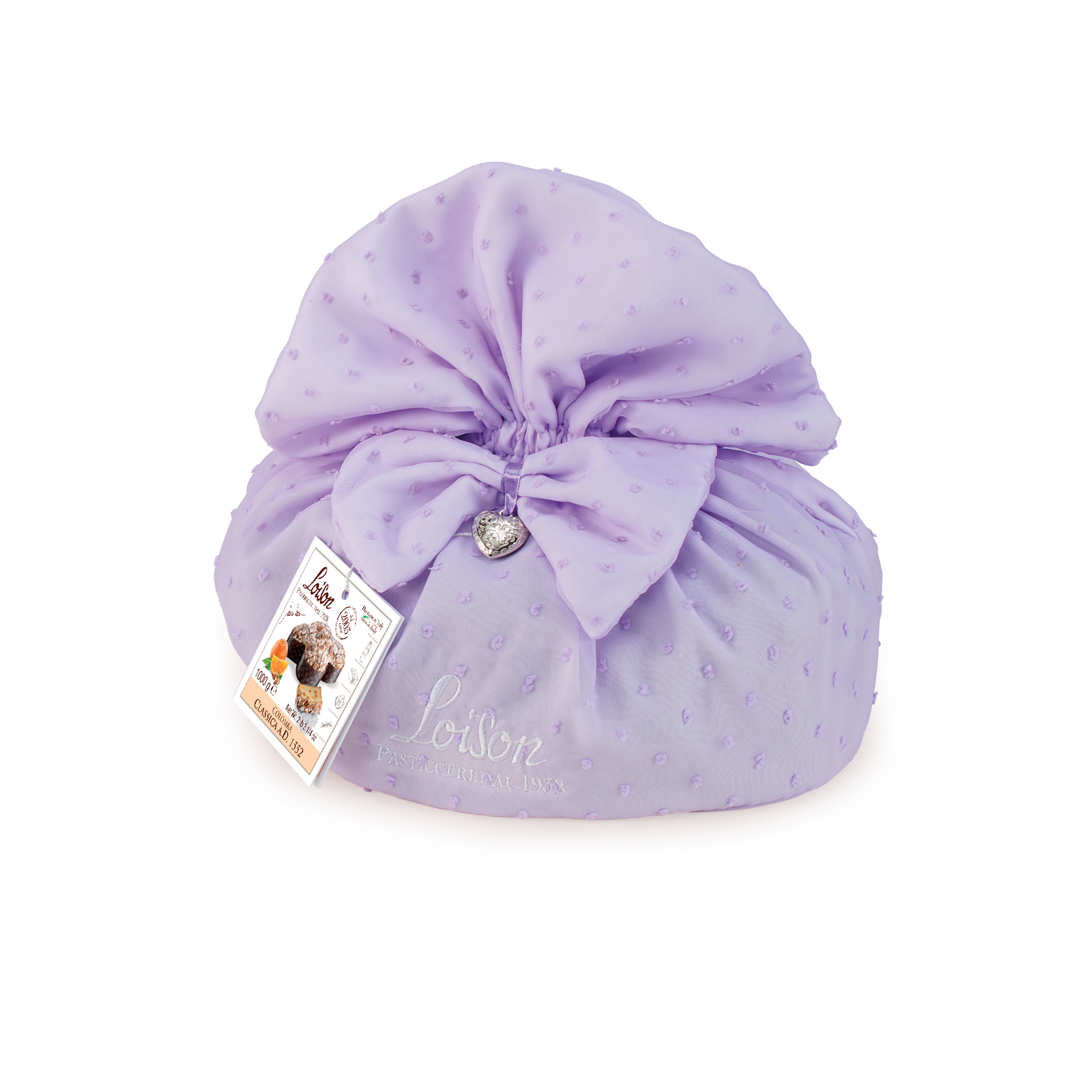 Traditional Colomba cake in fabric pouches