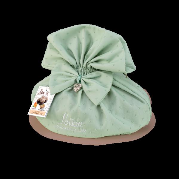 Colomba classica in sacchetto tessuto verde