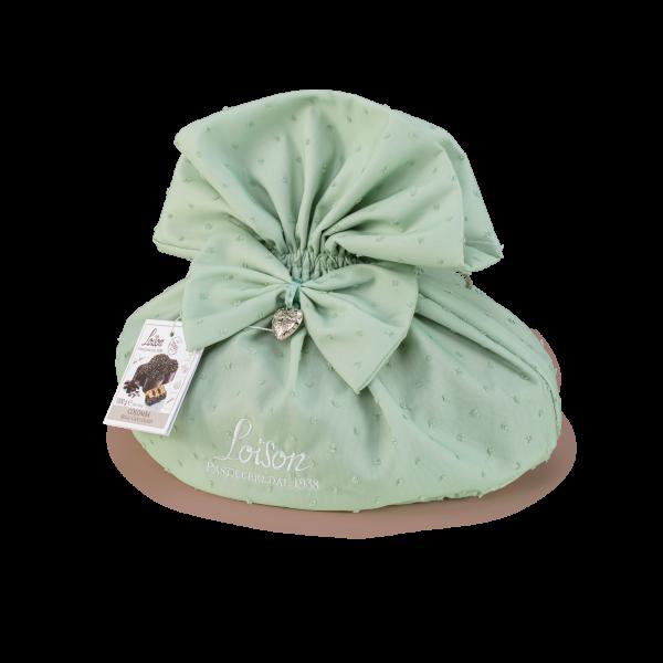 Colomba cioccolato in sacchetto tessuto verde